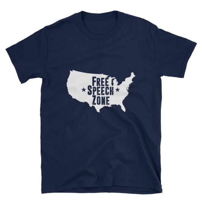 America Free Speech Zone Navy T-Shirt