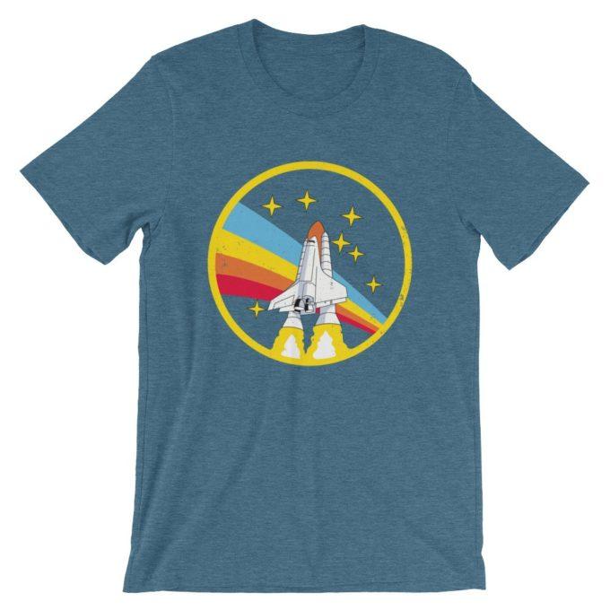 Alex Jones NASA Vintage Retro Heather Deep Teal T-Shirt