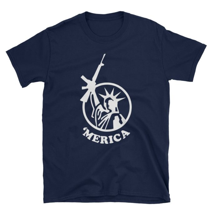 Merica Liberty and Guns Navy T-Shirt