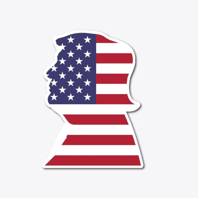 trump face american flag sticker