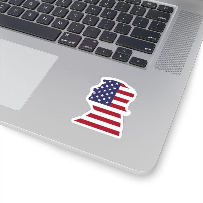 Trump 3x3 White Die Cut Sticker on Laptop