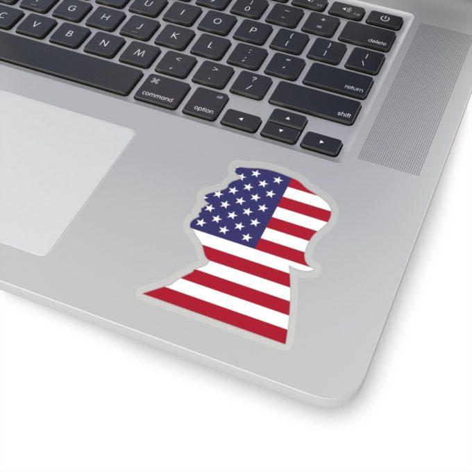 Trump 4x4 Transparent Die Cut Sticker on Laptop
